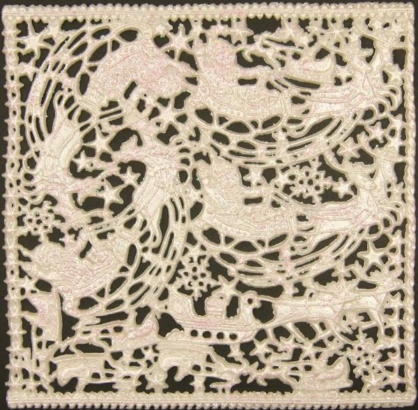 Wachsornament-Platte Rentierschlitten, 16 x 16 cm, perlmutt