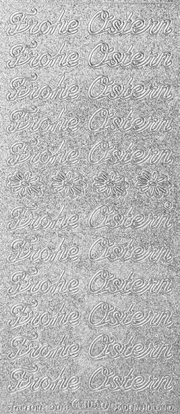 "Microglitter-Sticker, ""Frohe Ostern"", silber"