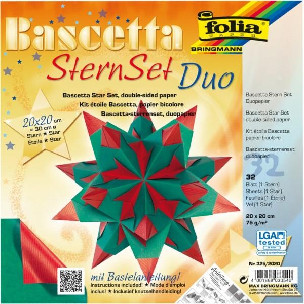 Bascetta Stern Set, DuoDesign, 20x20cm, 32 Blatt, rot/grün