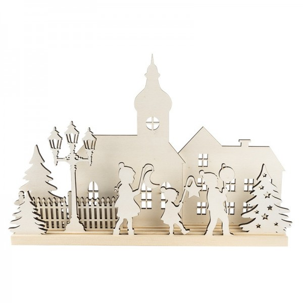 3-D Landschaft zum Stecken, Laternenkinder, Podest & versch. Holzelemente, 11-teilig
