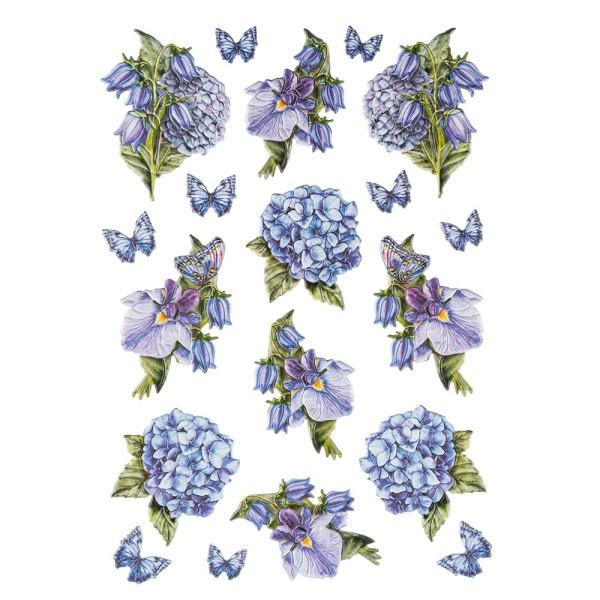 3-D Relief-Sticker, Blaue Blüten 4, verschiedene Größen, selbstklebend