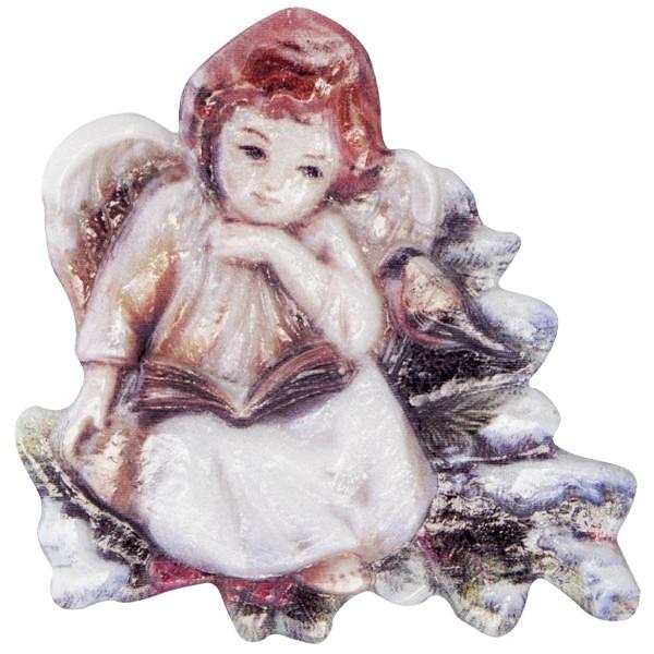 Wachsornament Engel 9, farbig, geprägt, 7cm