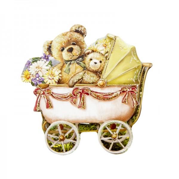 3-D Motiv, Teddys/Kinderwagen, Gold-Gravur & Glimmerlack, 8 cm