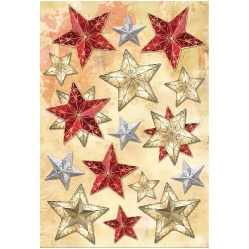 3-D Stickerbogen, Sterne 2, 12,5 x 18,5 cm