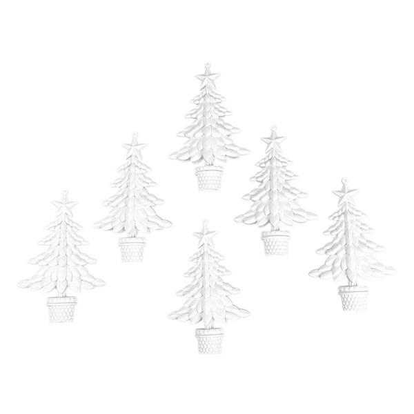Deko-Tannenbäume 3, Rohlinge, 9,6cm x 15cm x 3cm, 6 Stück
