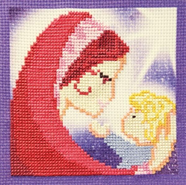 Stickbild-Set, malerischer Hintergrund,  14,5x14,5cm, Maria