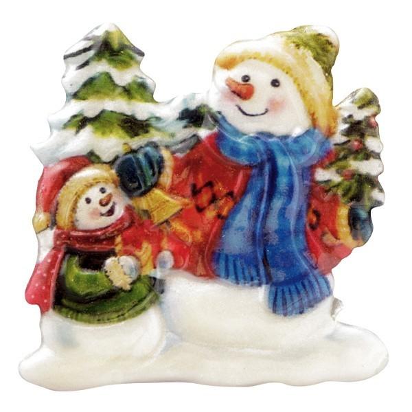 Wachsornament Schneemänner 4, farbig, geprägt, 7cm