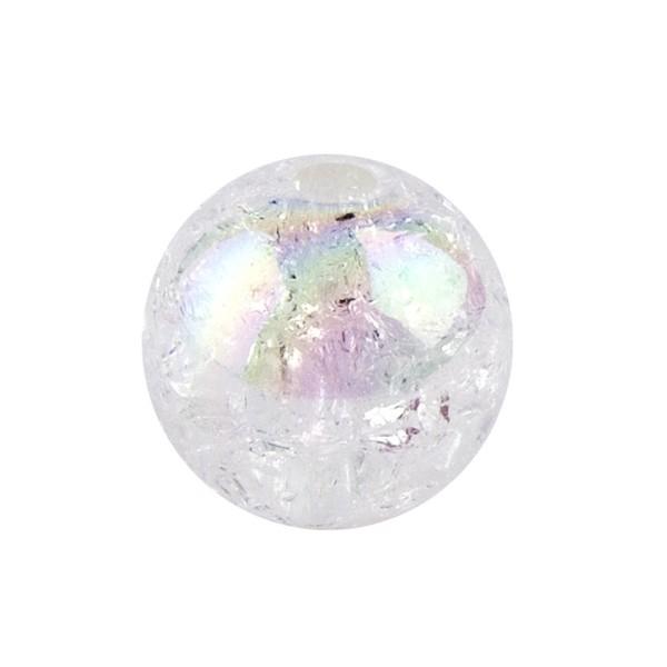 Perlen, Crackle, Ø 12mm, weiß-irisierend, 25 Stk.