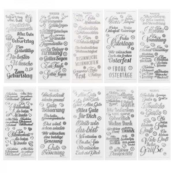 Gravur-Sticker, Wünsche & Gratulationen, transparent/silber, 10 Bogen