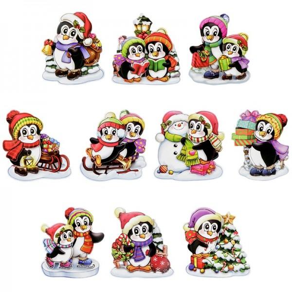 3-D Motive, Pinguine Weihnachten, 6,5-7,5cm, 10 Motive