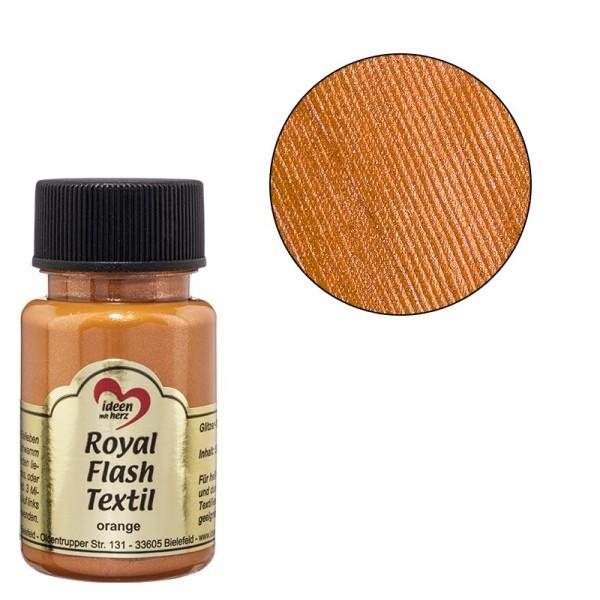 Royal Flash Textil, Glitzer-Metallic-Farbe, 50 ml, orange