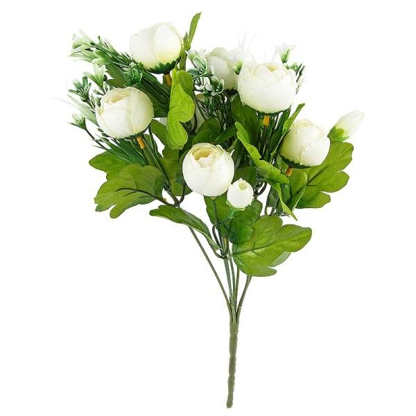 Blütenbusch, Ranunkeln, 33cm hoch, Ø 3,5cm, 7 große Blüten, weiß/grün