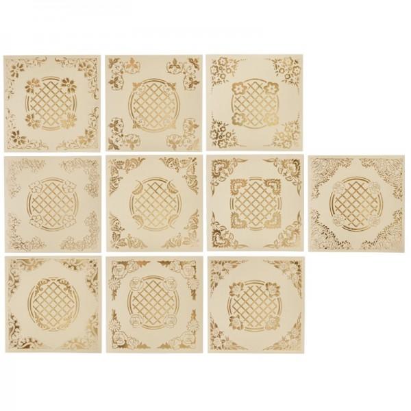 Perlmutt-Doppelgrußkarten, folienveredelt, 16 x 16 cm, 10 Stück