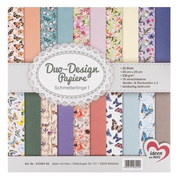 Duo-Design-Papiere, Schmetterlinge 1, beidseitig bedruckt, 25cm x 25cm, 250g/m², 20 Blatt
