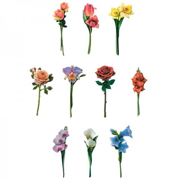Folien 3-D Motive, Langstiel-Blumen, 4-16cm, 10 Stück