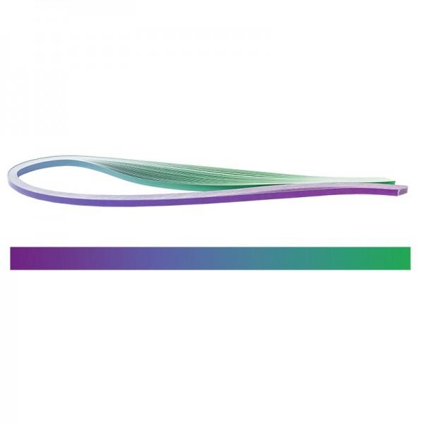 Quilling-Papierstreifen, Farbverlauf, 3 Größen (5mm, 7mm, 10mm), 54cm lang, violett/grün, 150 Stück