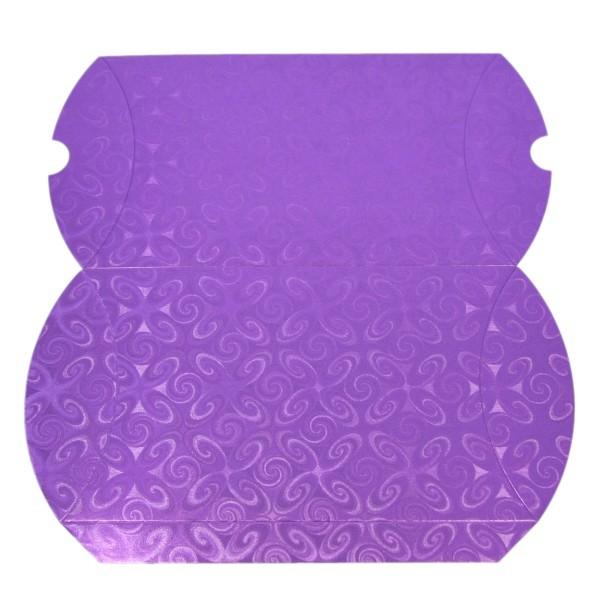 Geschenkbox, Kissen-Form, 22x13x4,5cm, folienkaschiert, violett