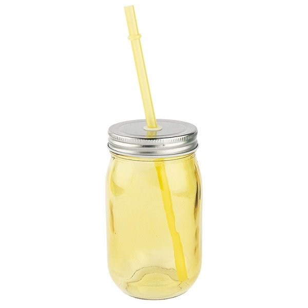 Trinkglas mit Deckel und Trinkhalm, 7,5cm x13cm x7,5cm, gelb
