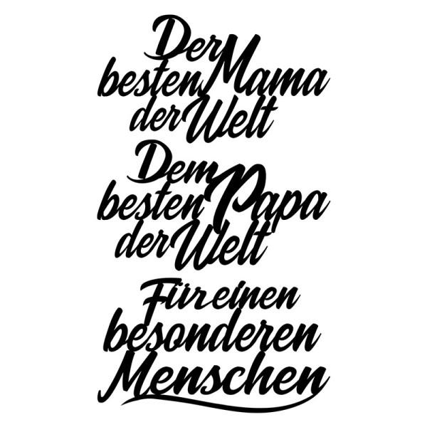 Stanzschablonen, Schriften, Für Mutter & Vater, 4,5cm bis 8,2cm, 3 Stück