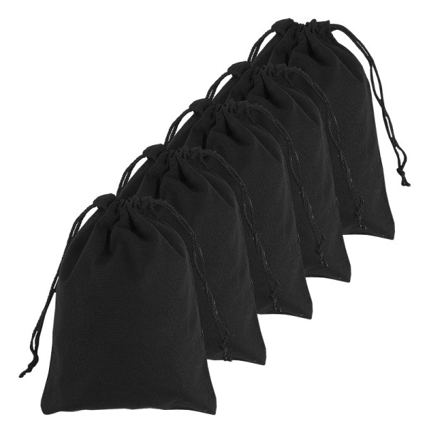 Baumwoll-Zuziehbeutel, 15x20cm, schwarz, 5 Stück
