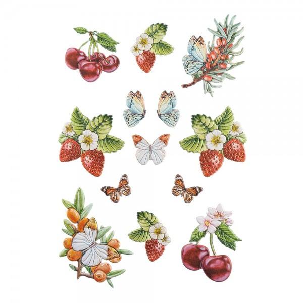 3-D Relief-Sticker, Beerenvielfalt 3, verschiedene Größen, selbstklebend