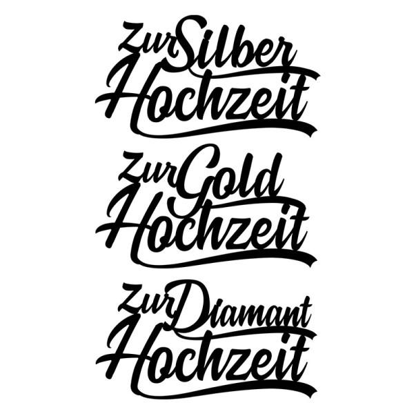 Stanzschablonen, Schriften, Zur Hochzeit 2, 4,4cm bis 8,2cm, 3 Stück