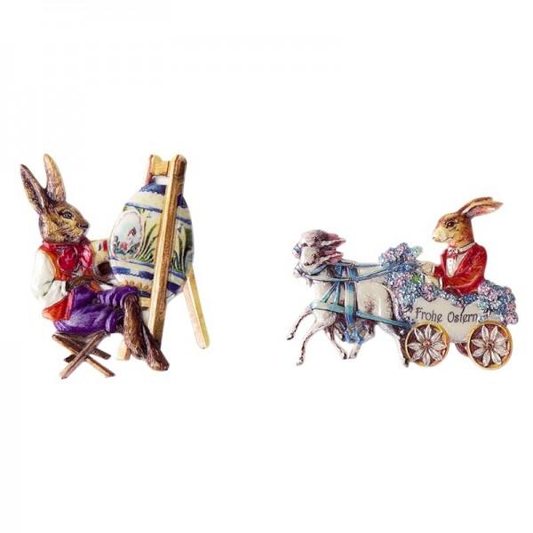 Wachsornamente, Osterhasen, Künstler & Kutsche, 2 Stück