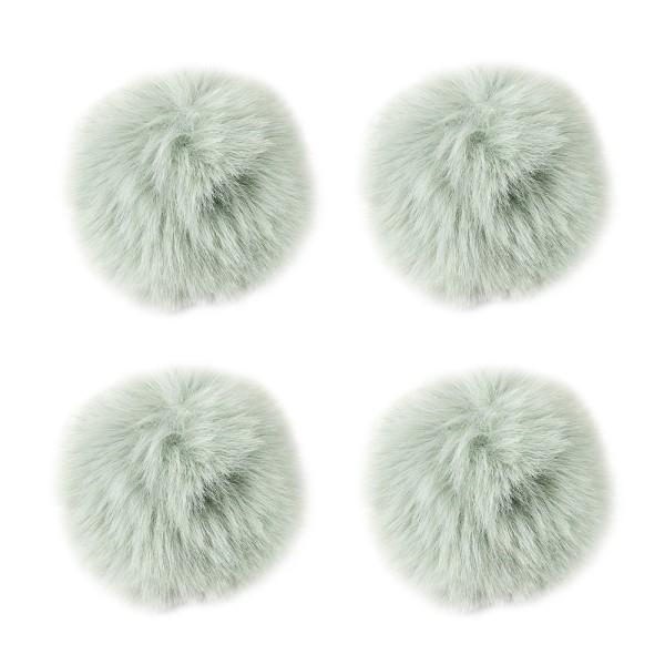 Fell-Pompons, Ø 8cm, lindgrün, 4 Stück