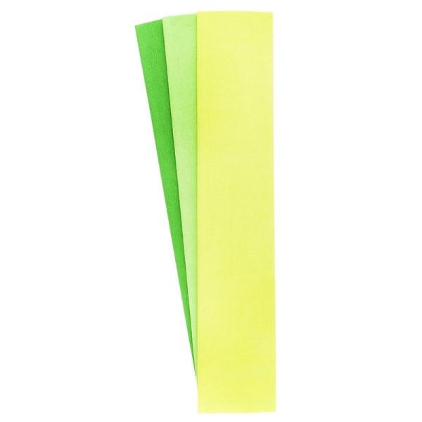 Krepp-Papiere, 50cm x 200cm, hellgrün, gelbgrün, grasgrün, 3 Stück