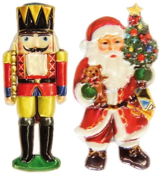Wachsornamente, 2er Set, Weihnachtsmotive