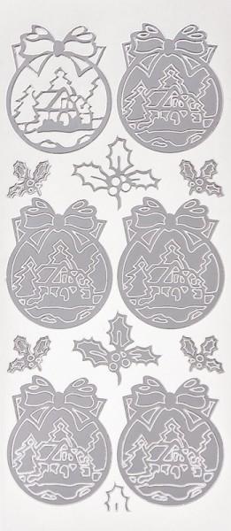 Sticker, Weihnachtskugeln mit Winterdörfern, Perlmuttfolie, silber