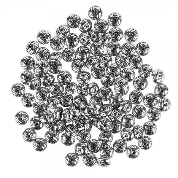 Perlen, Knoten, 0,4cm x 1cm, silber-schwarz, 100 Stück