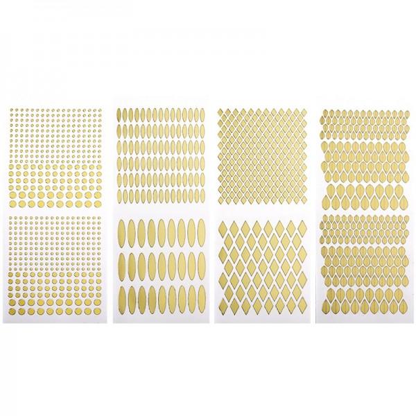 Stickerbogen, Juwelen 1, Spiegelfolie, gold, 4 Stück