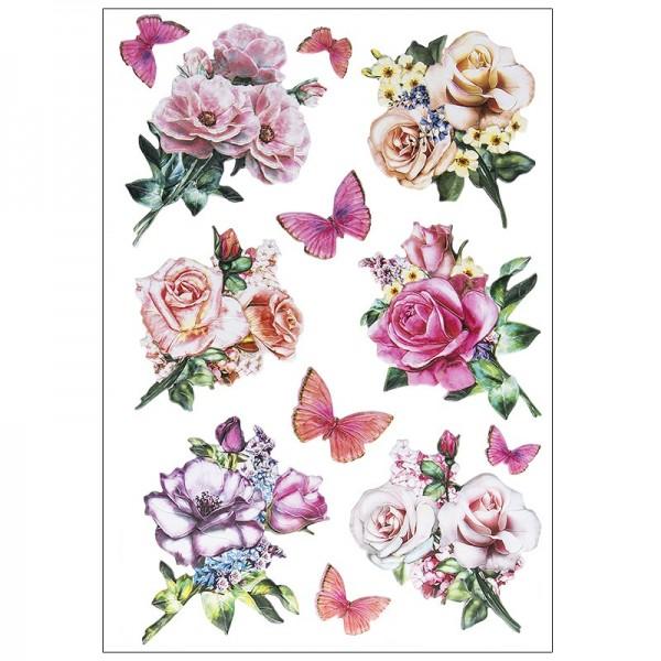 3-D Relief-Sticker, Blumen in Pastell, verschiedene Größen, selbstklebend