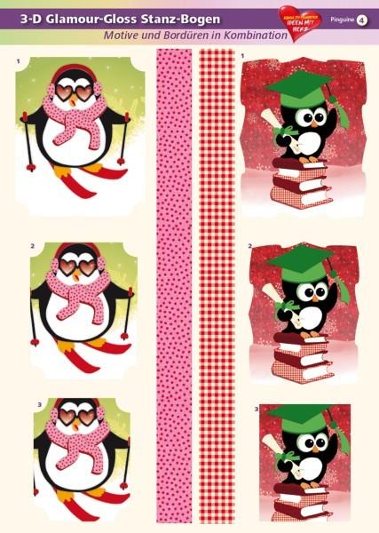 3-D GlamourGloss Bogen, Pinguine, DIN A4, Motiv 4