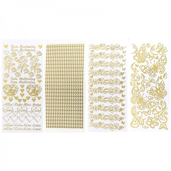Stickerbogen, Muttertag, Spiegelfolie, gold, 4 Stück