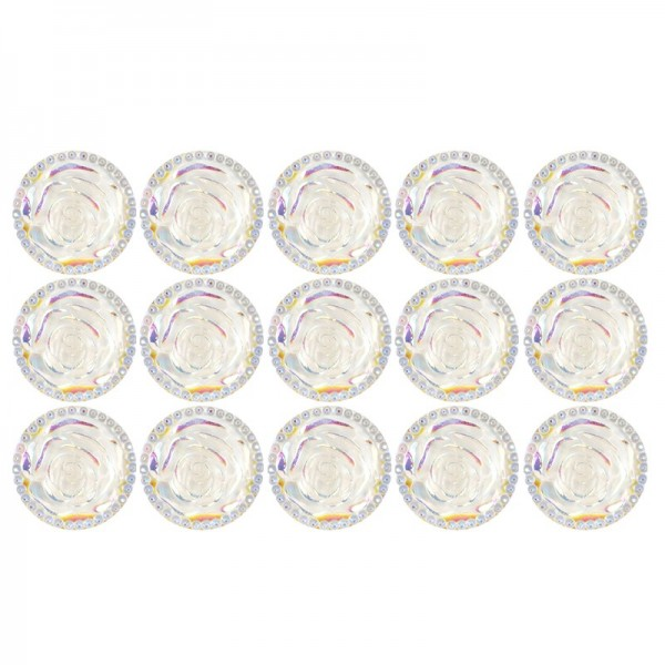 Kristallkunst-Schmucksteine, Rosenblüte, Ø 2,6cm, transparent, klar, irisierend, 15 Stück