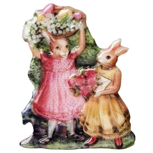 Wachsornament Osterhasen mit Blumen, farbig, geprägt, 6-7cm