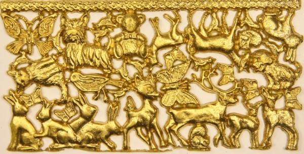 Wachsornament-Platte Tiere, ca. 16 x 8 cm, gold
