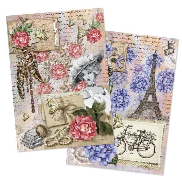 """Reispapiere, Nostalgie """"Blüten 5"""", DIN A4, 2 Designs"""