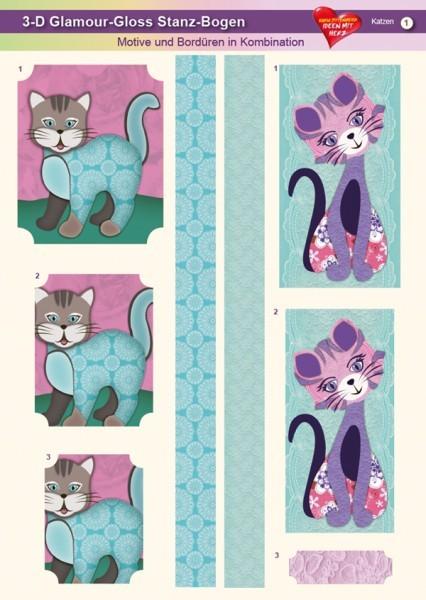 3-D GlamourGloss Bogen, Katzen, DIN A4, Motiv 1