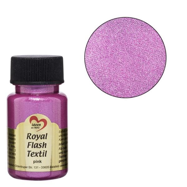 Royal Flash Textil, Glitzer-Metallic-Farbe, 50 ml, pink