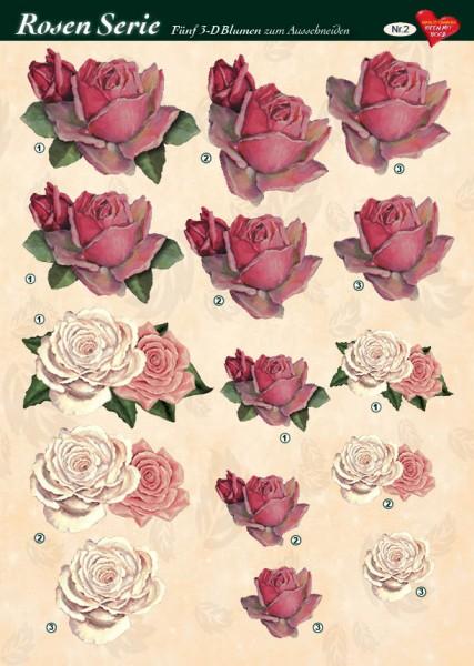 3-D Rosenserie, 5 Blumen zum Ausschneiden, Bogen Nr. 2