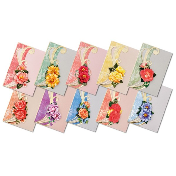 """3-D Grußkarten """"XL-Schwungblüten"""", inkl. Umschläge, 30-teilig"""
