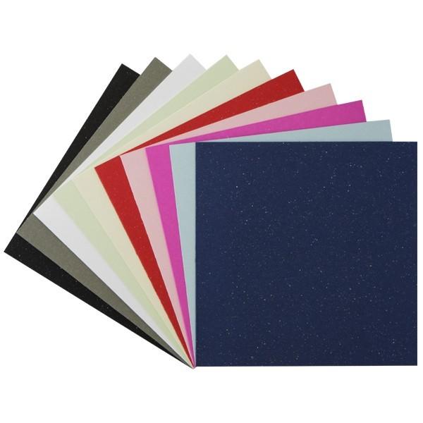 """Sonderpreis: 50er Grußkarten-Set, """"Glimmer"""", 13x13cm, 10 Farben"""