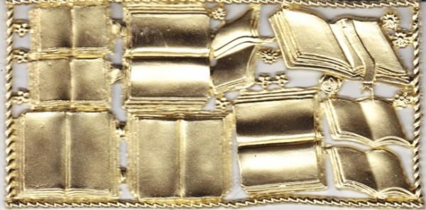 Wachsornamente-Platte Bücher, 16 x 8 cm, premium-gold