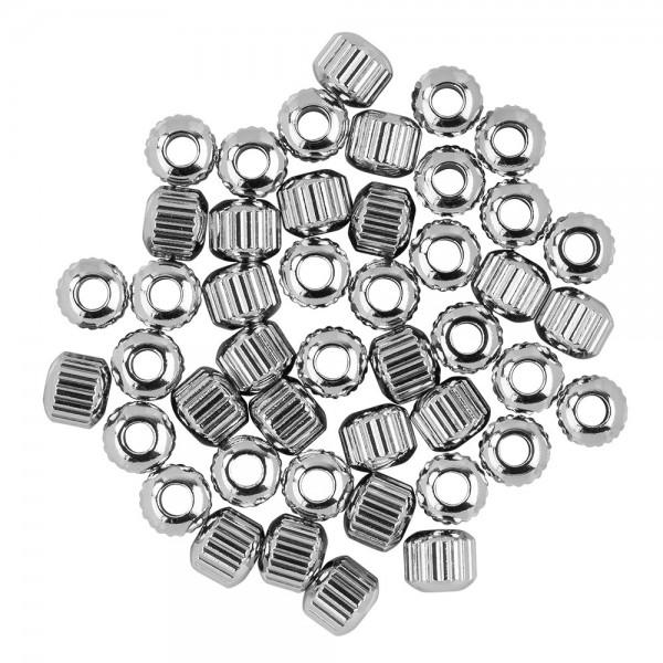 Perlen, Edelstahl, Zylinder, Ø 5mm, 3mm hoch, geriffelt, silber, 45 Stück