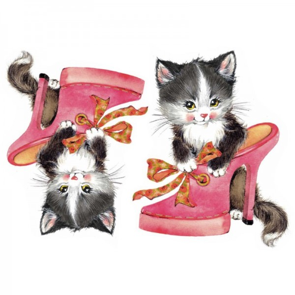 Color Bügeltransfers, DIN A4, Katze mit Schuh