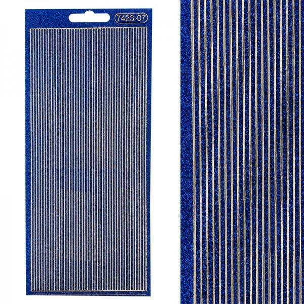 Microglitter-Sticker, Linien, 2mm, blau