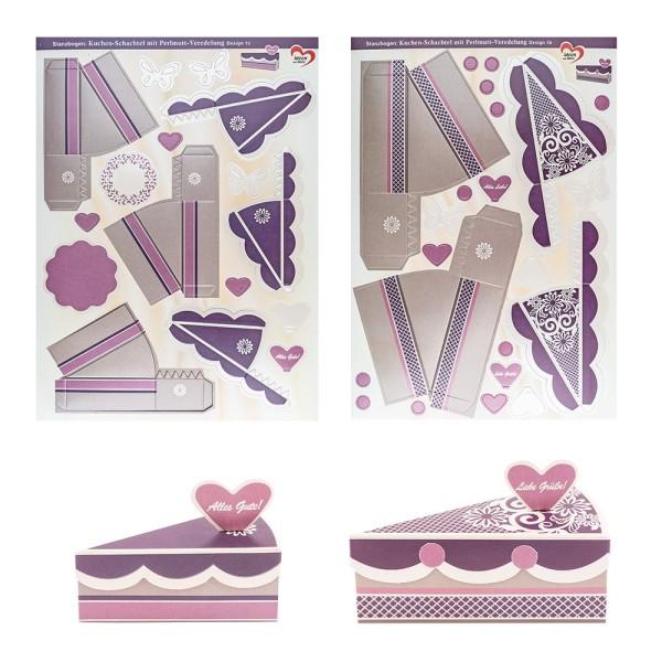Stanzbogen, Kuchen-Schachteln, Design 1b & 1c, DIN A4, 10 Stück